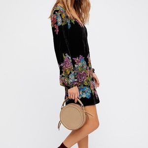 Free People Misha Black Floral Velvet Mini Dress